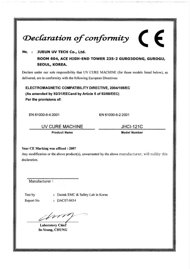 CE 인증서 JHCI-121C